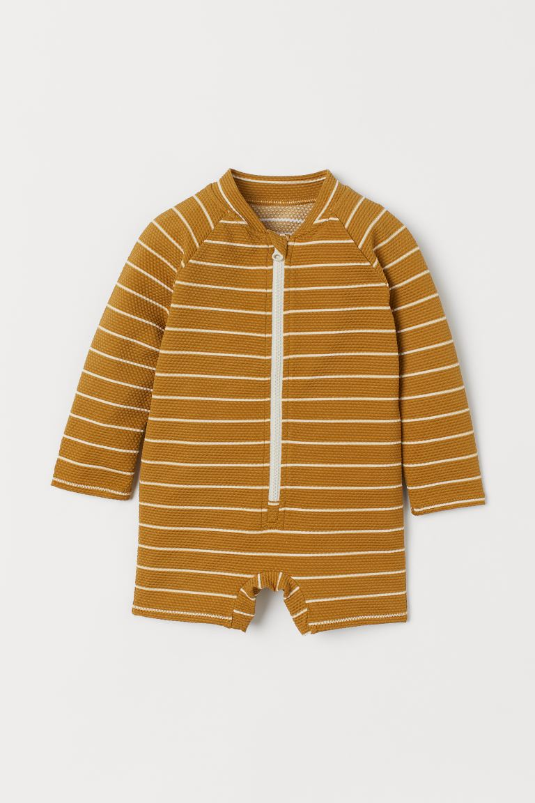 Swimsuit with UPF 50 - Light brown/White striped - Kids | H&M GB