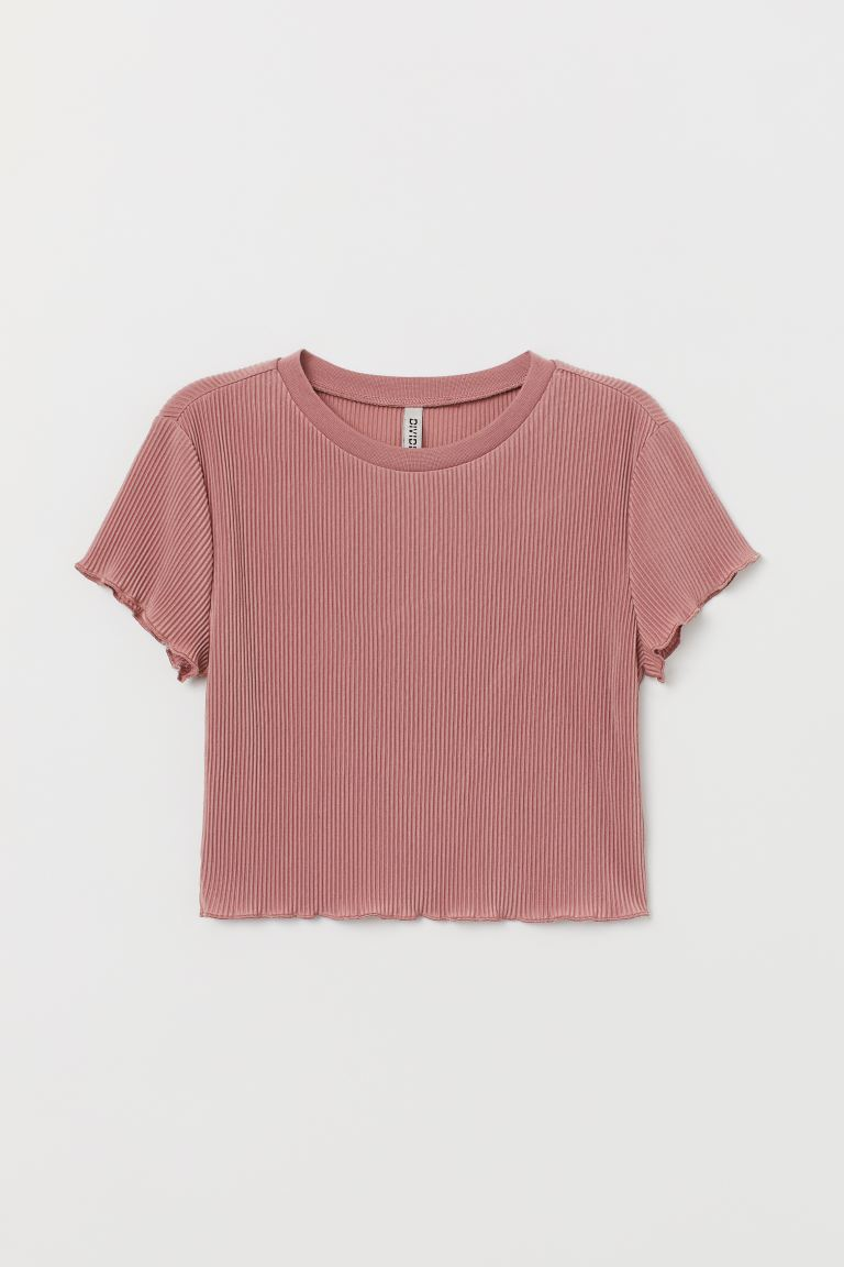 Pleated jersey top - Old rose - Ladies | H&M GB