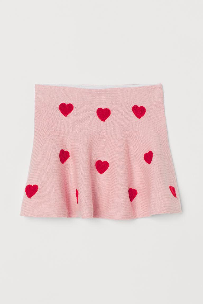 Fine-knit skirt - Light pink/Hearts - Kids   H&M GB