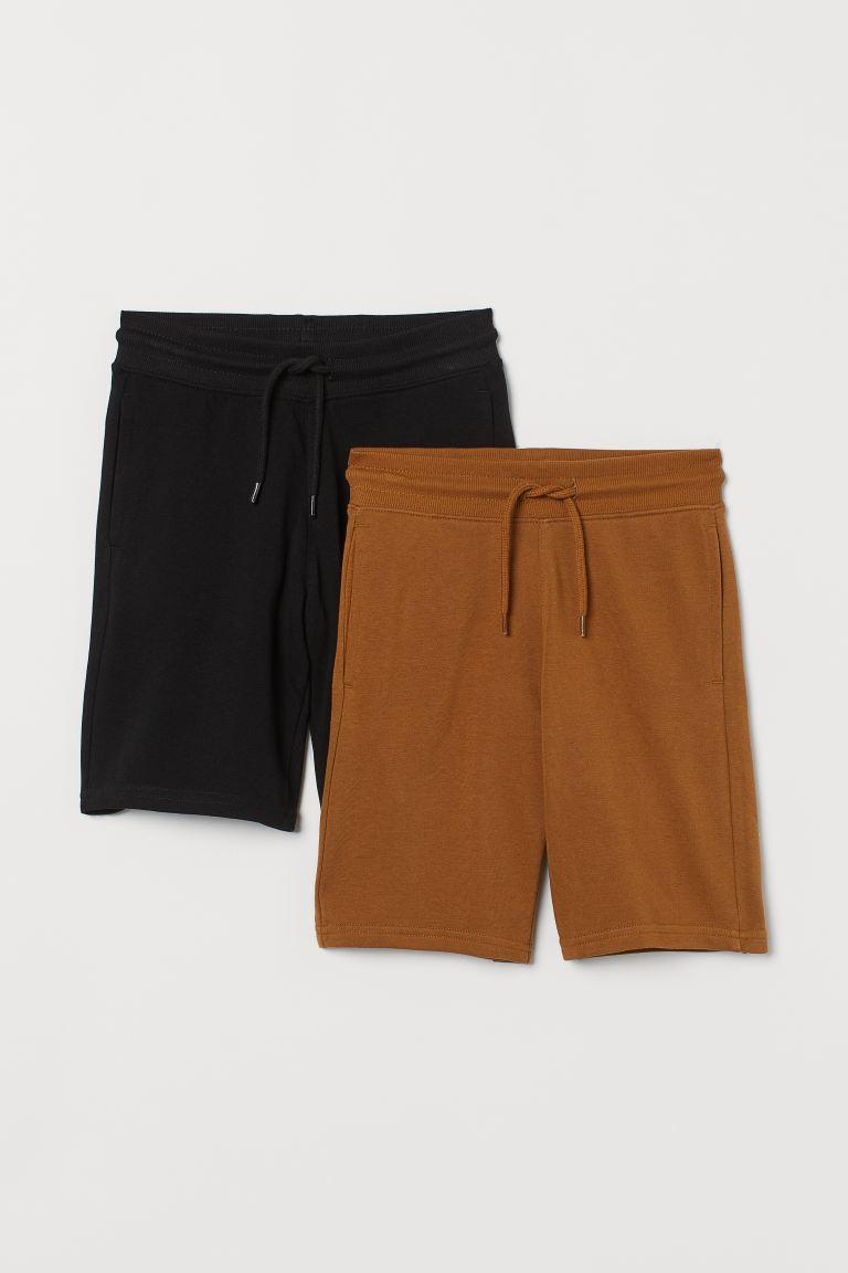 2-pack sweatshirt shorts - Brown/Black - Kids | H&M GB