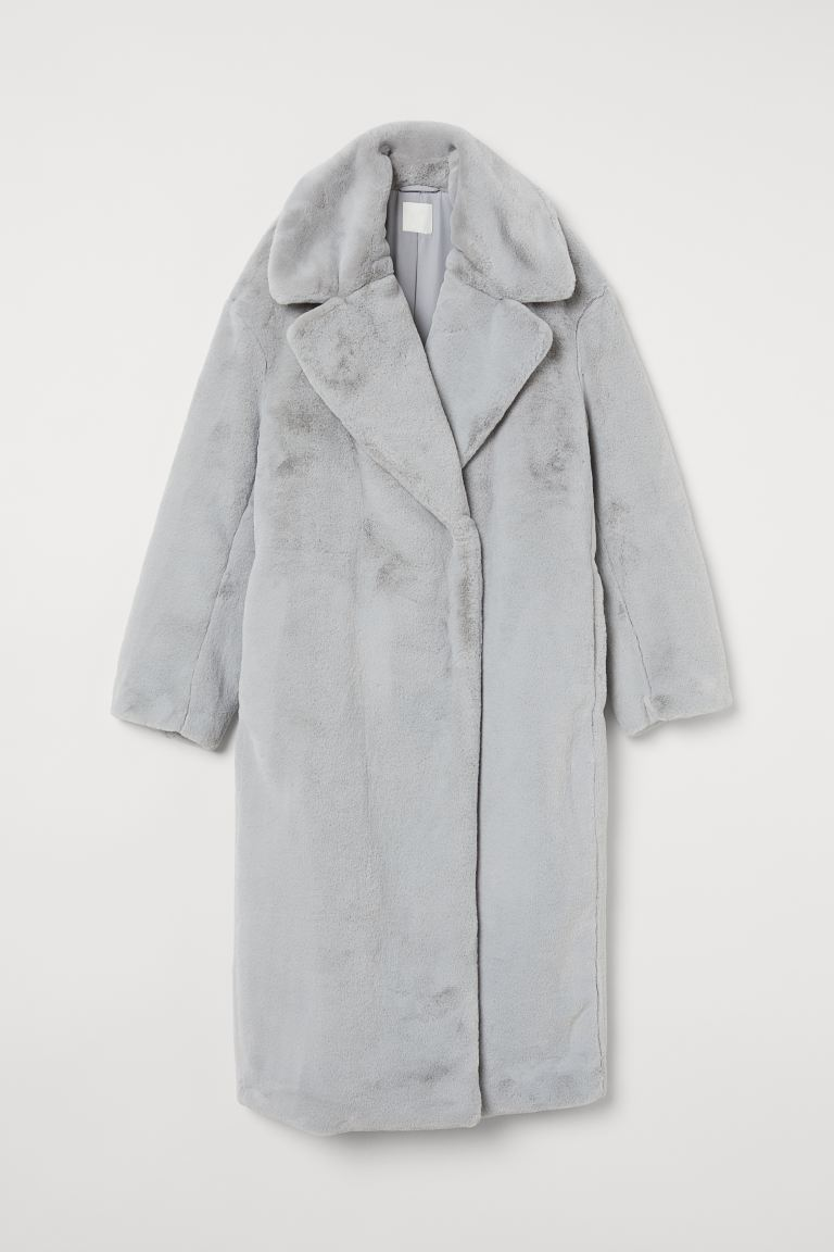 Faux fur coat - Light grey - Ladies | H&M IE