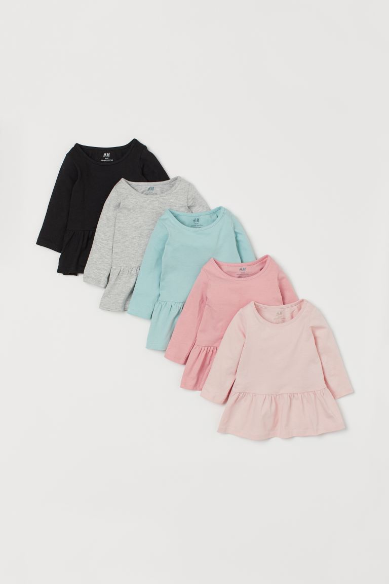 5-pack Cotton Dresses - Pink/turquoise/black/gray - Kids | H&M CA