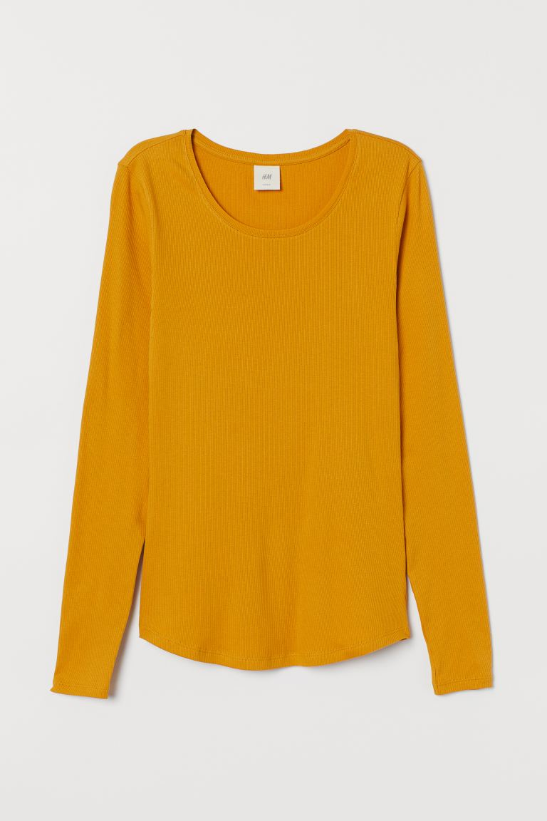 Long-sleeved jersey top - Mustard yellow - Ladies | H&M