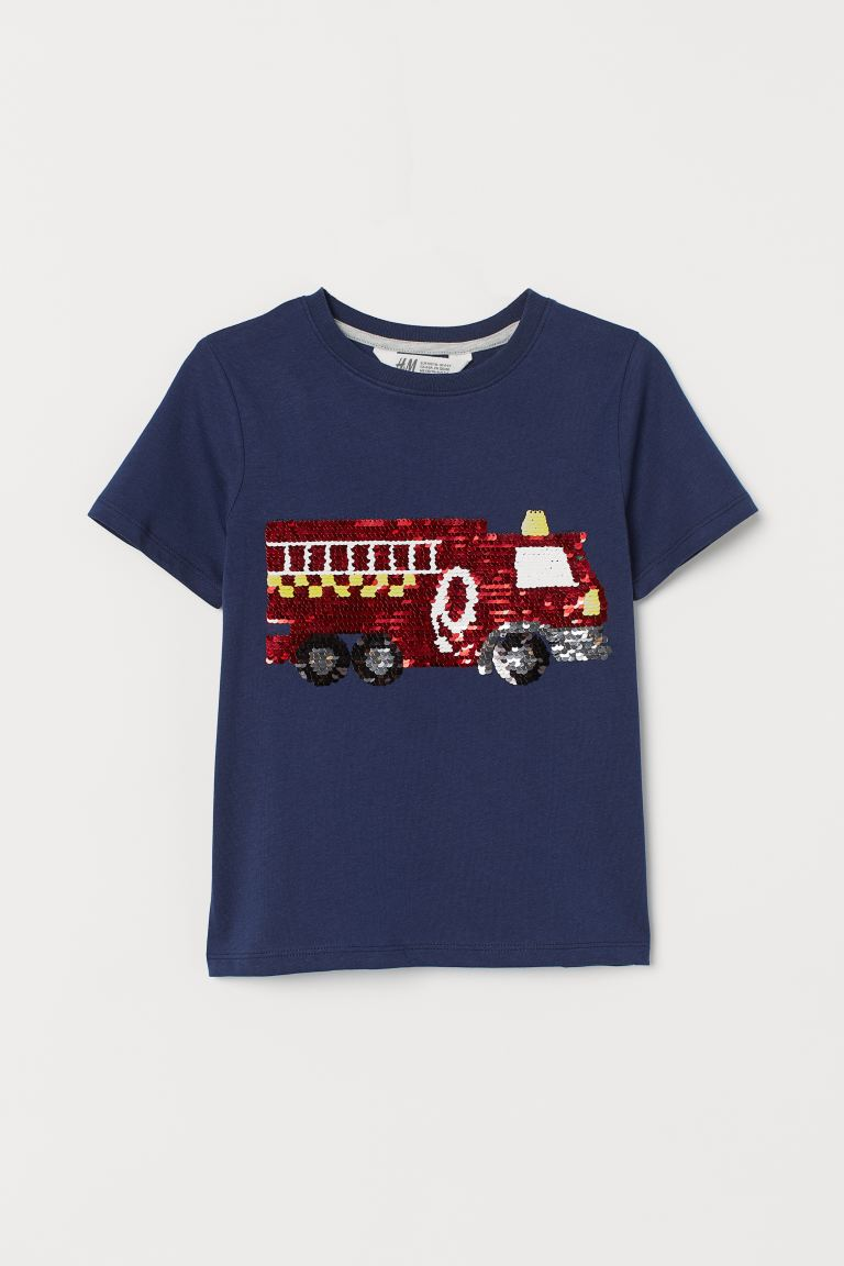 Reversible sequin T-shirt - Dark blue/Fire engine -  | H&M GB
