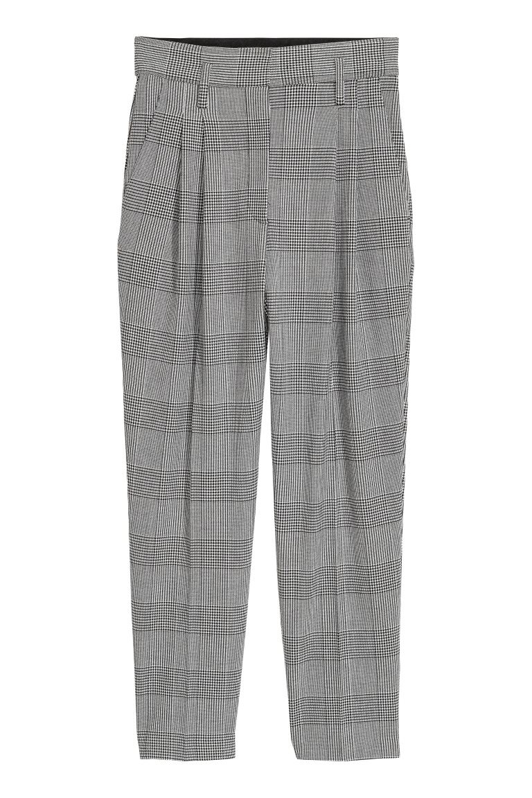 Patterned Pants - White/houndstooth - Ladies | H&M US
