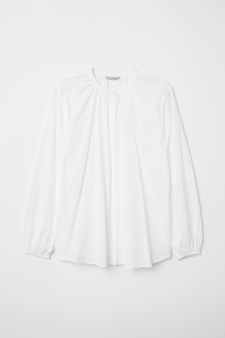 H&M+ Embroidered Blouse - White - Ladies | H&M US