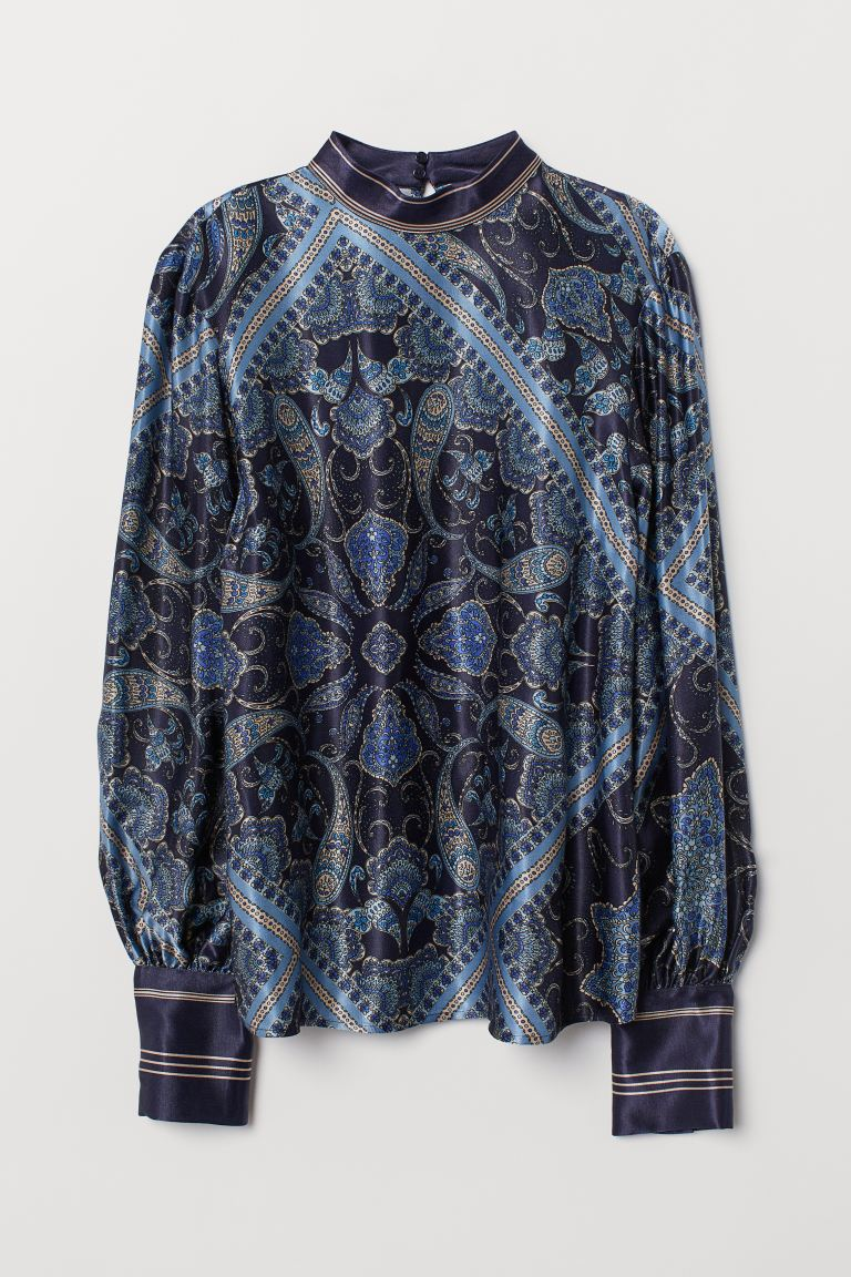 Paisley-patterned blouse - Dark blue/Paisley-patterned - Ladies | H&M IE