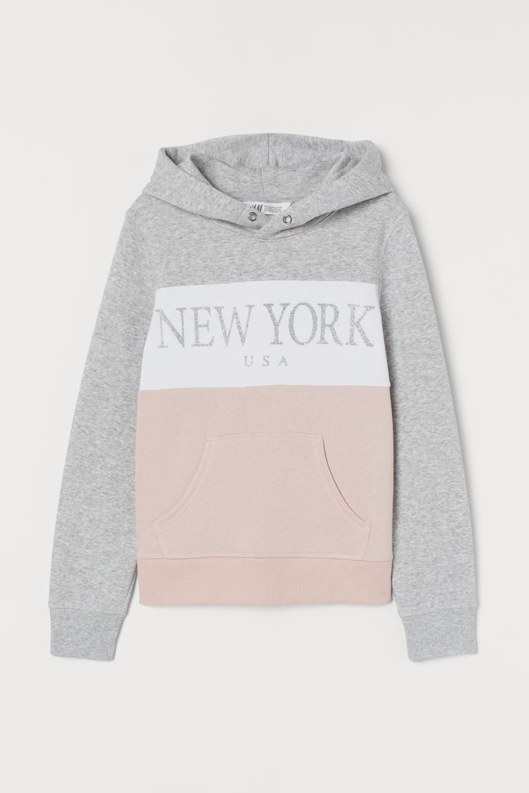 Hooded top with a motif - Light grey marl/New York - Kids | H&M IE