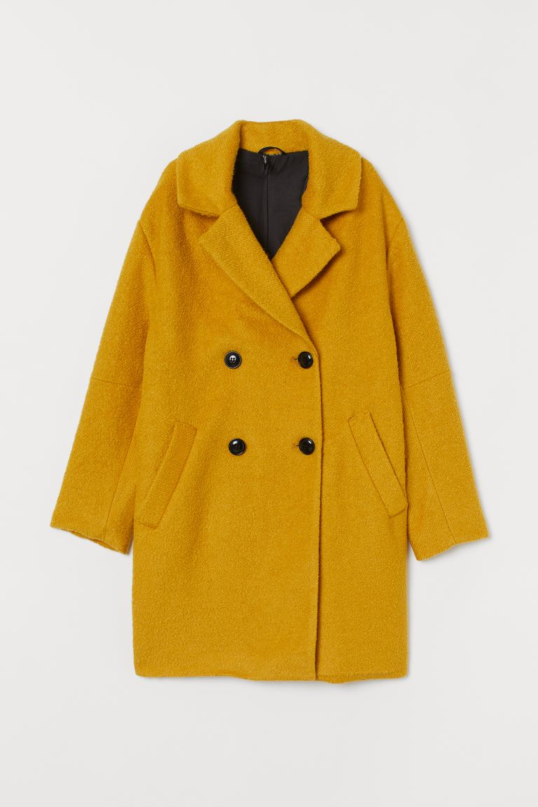 Double-breasted coat - Mustard yellow - Ladies | H&M GB