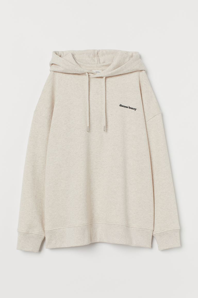 Printed hoodie - Light beige marl - Ladies | H&M GB