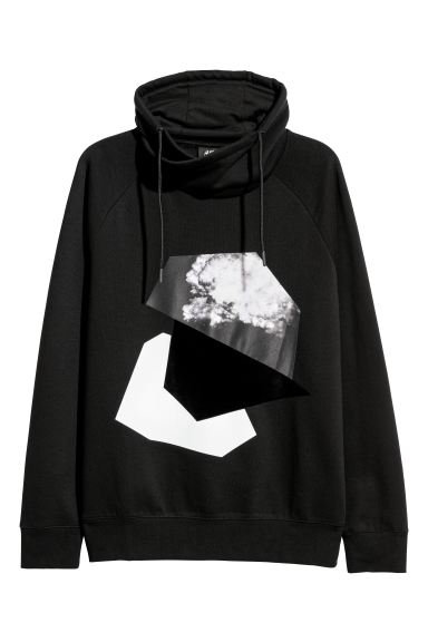 Funnel-collar sweatshirt - Black/Motif - Men | H&M IE