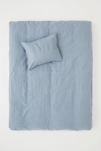 Washed Linen Duvet Cover Set - Pigeon blue - Home All | H&M US