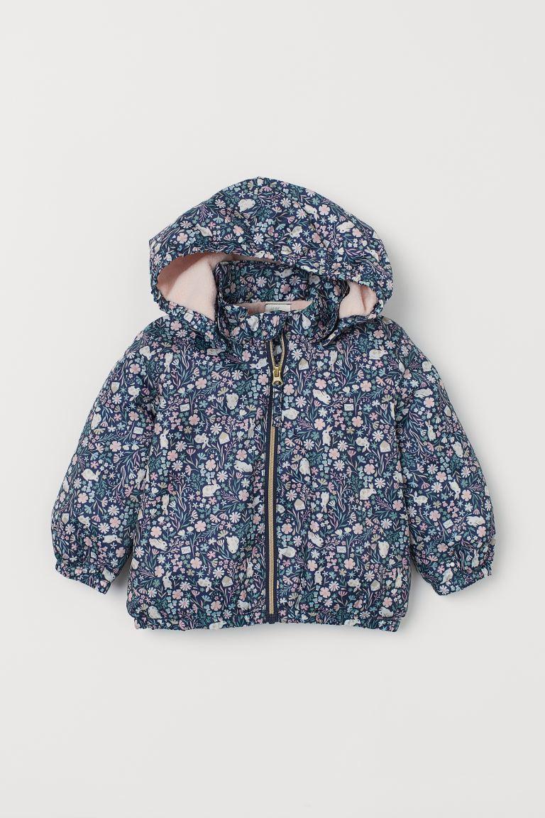 Fleece-lined jacket - Dark blue/Rabbits - Kids | H&M GB