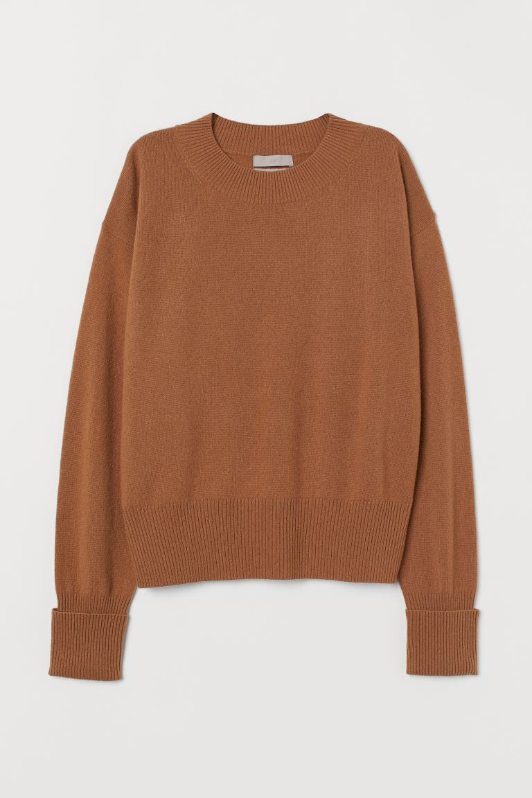 Fine-knit cashmere jumper - Dark beige - Ladies | H&M