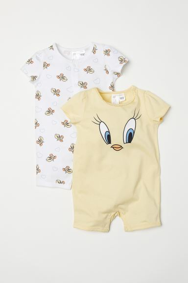 2-pack cotton pyjamas - Light yellow/Looney Tunes - Kids | H&M IN