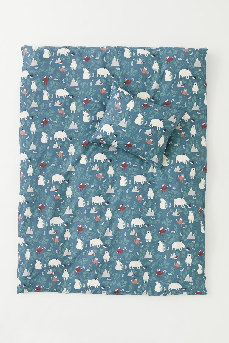 Patterned duvet cover set - Turquoise/Animals - Home All | H&M IE