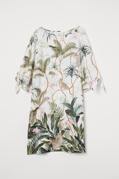 Palm tie sleeve dress