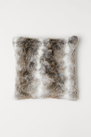 Faux Fur Cushion Cover - White/light brown - Home All | H&M US