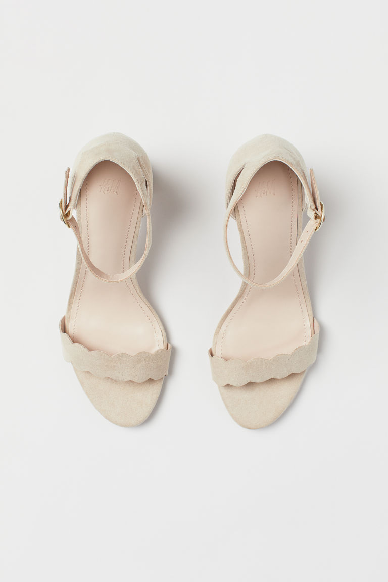 Block-heeled Sandals - Powder beige - Ladies | H&M US 2
