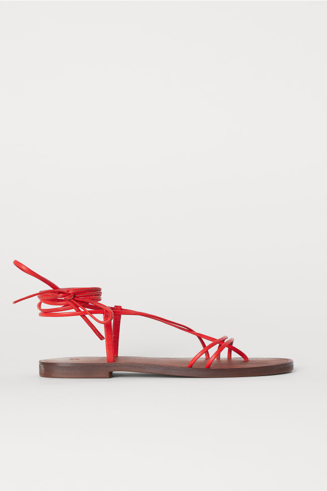 Leather sandals - Red - Ladies | H&M IE 2