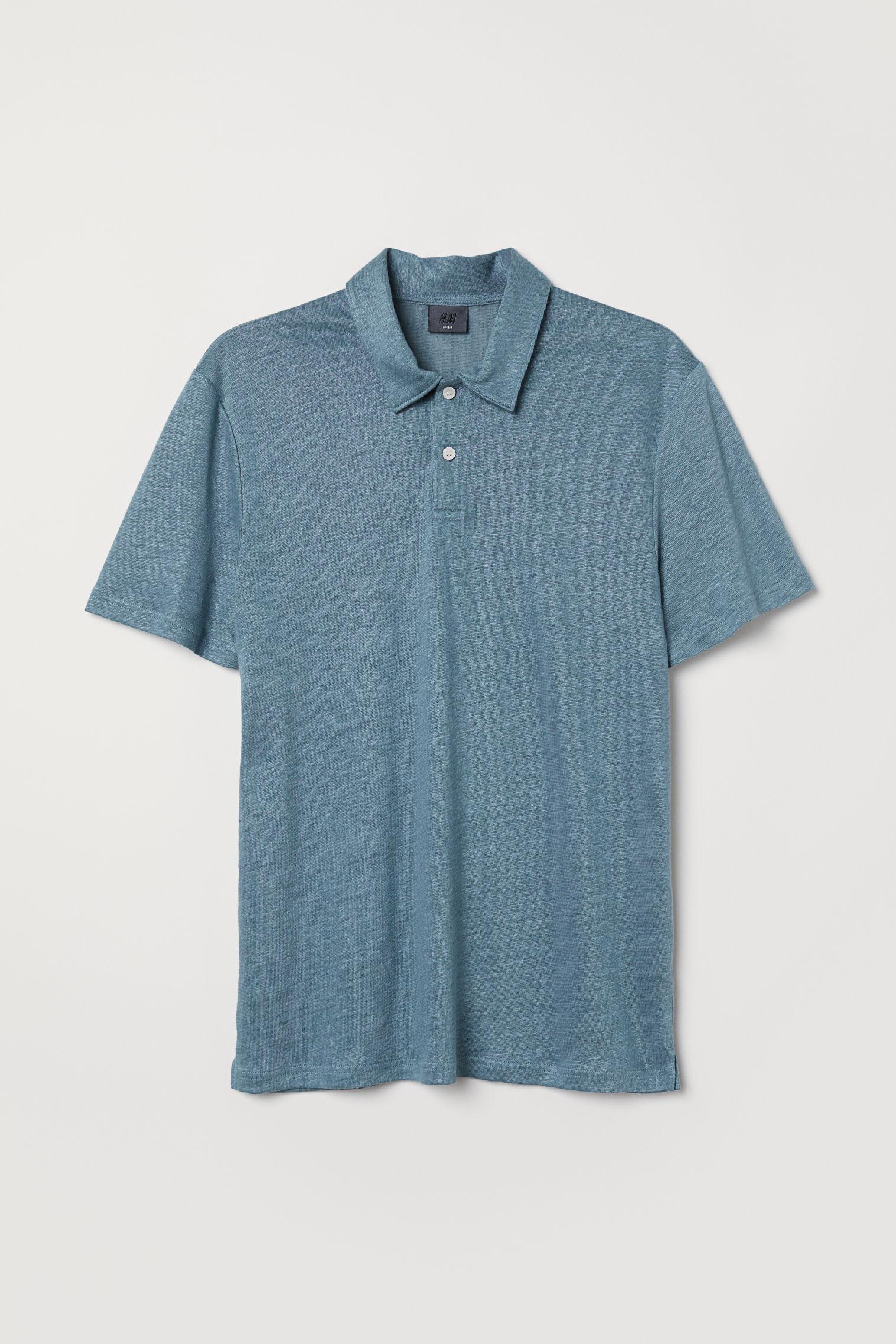 Linen Blend Polo Shirt Hm Ksa