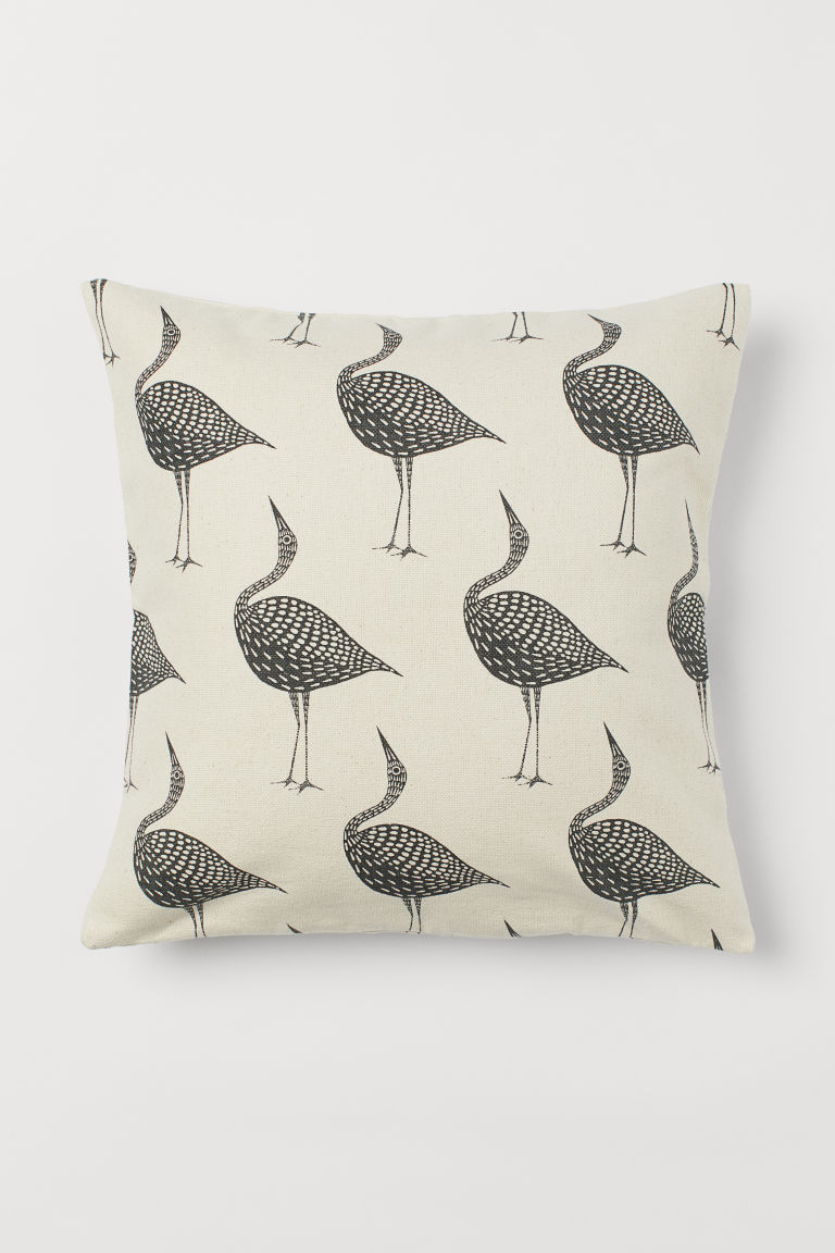 Canvas Cushion Cover - Natural white/birds - Home All | H&M US 1