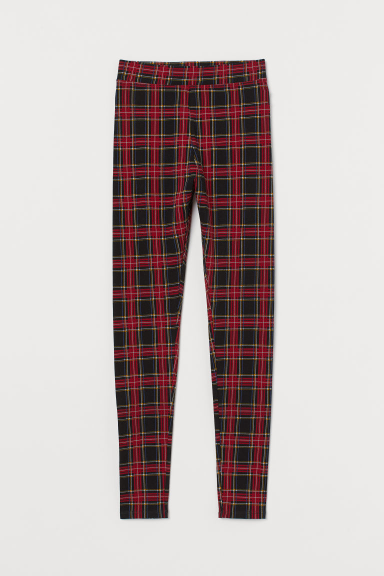 Patterned Leggings - Red/black plaid - Ladies | H&M US
