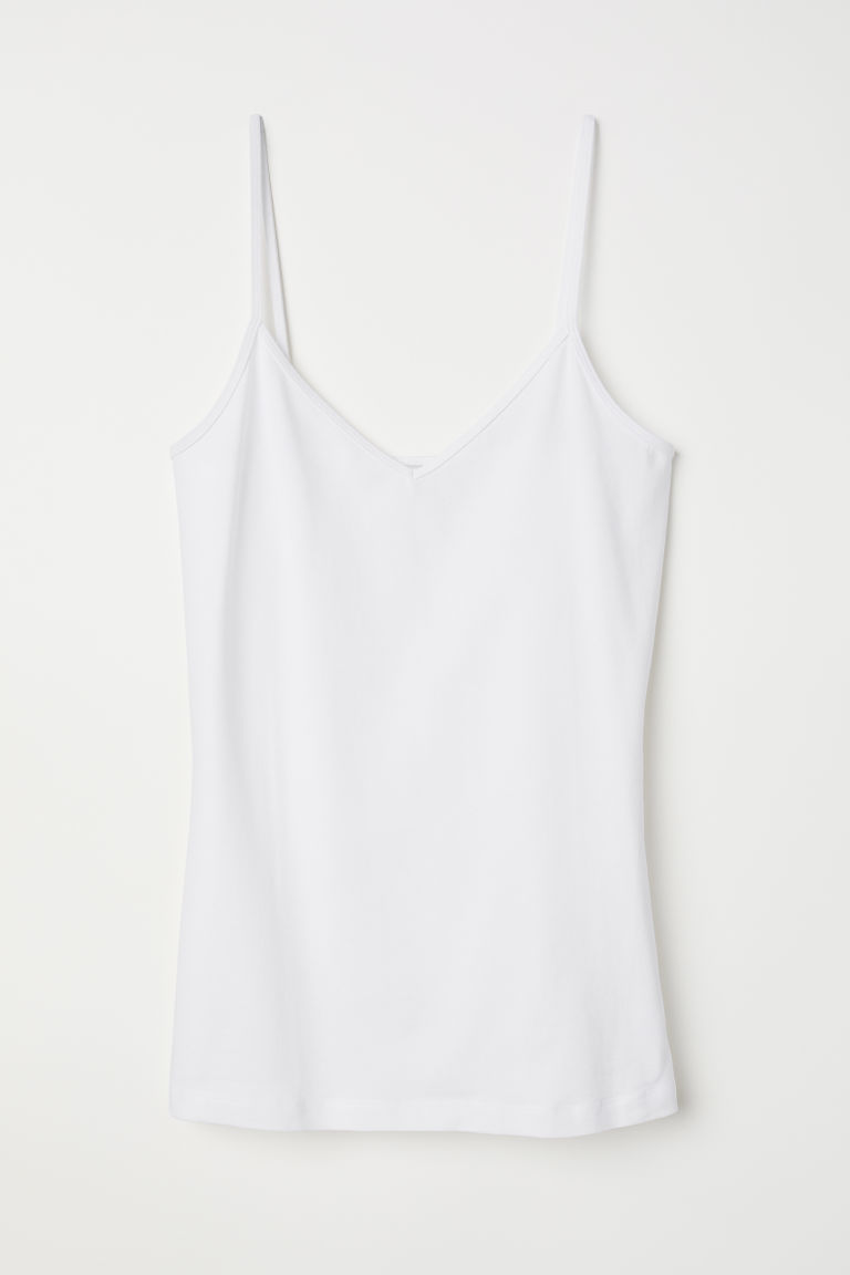 V-neck Jersey Camisole Top - White - Ladies | H&M US 5