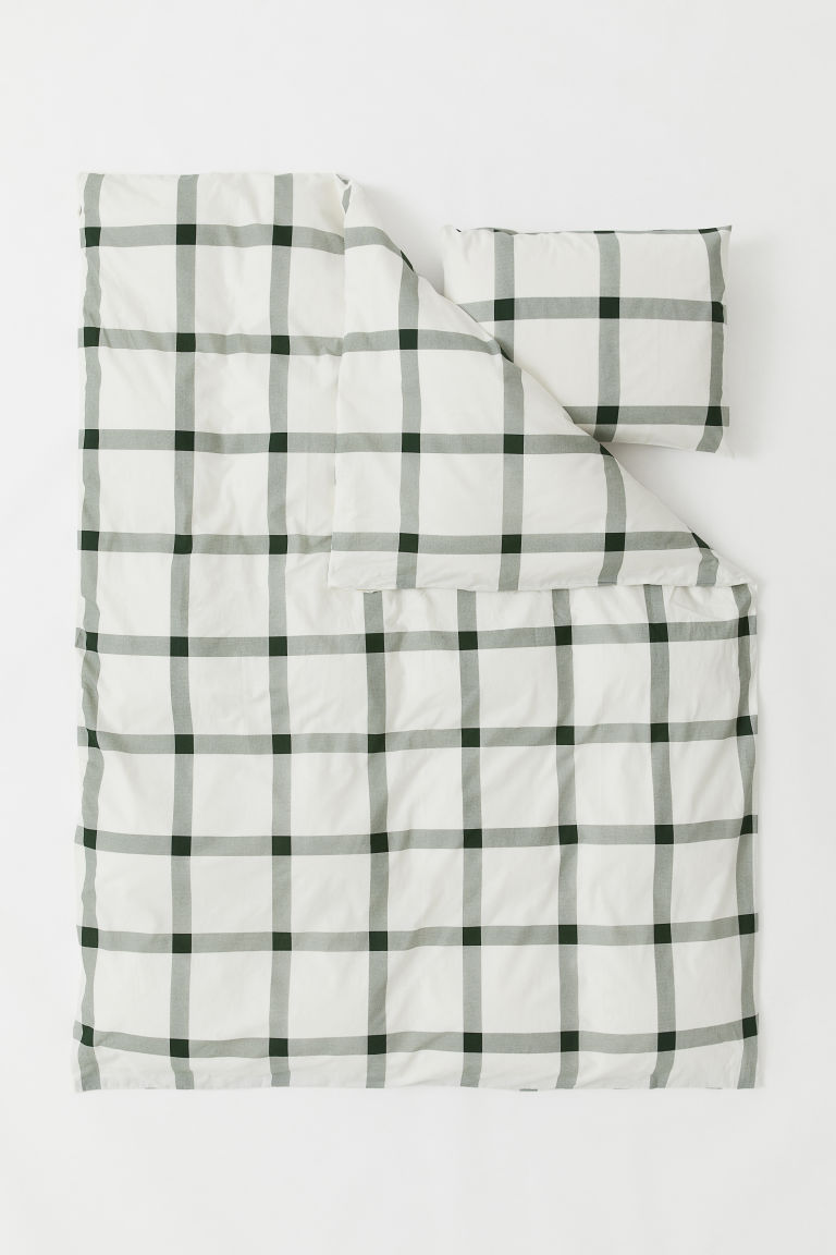 Patterned Duvet Cover Set - White/green checked - Home All | H&M US
