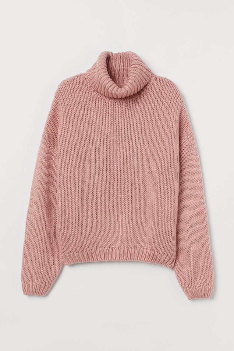 Chunky-knit Turtleneck Sweater - Dusty rose - Ladies | H&M US