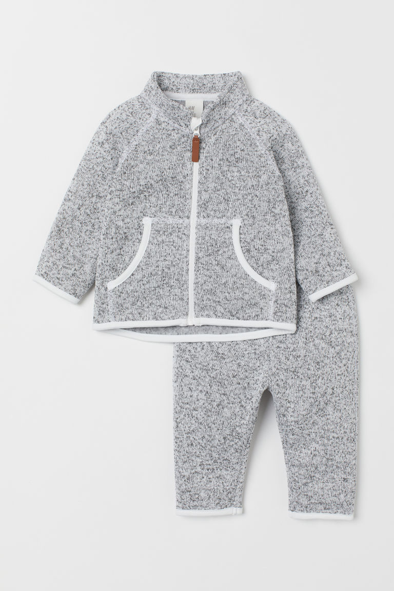 Fleece Jacket and Pants - Light gray melange - Kids | H&M US