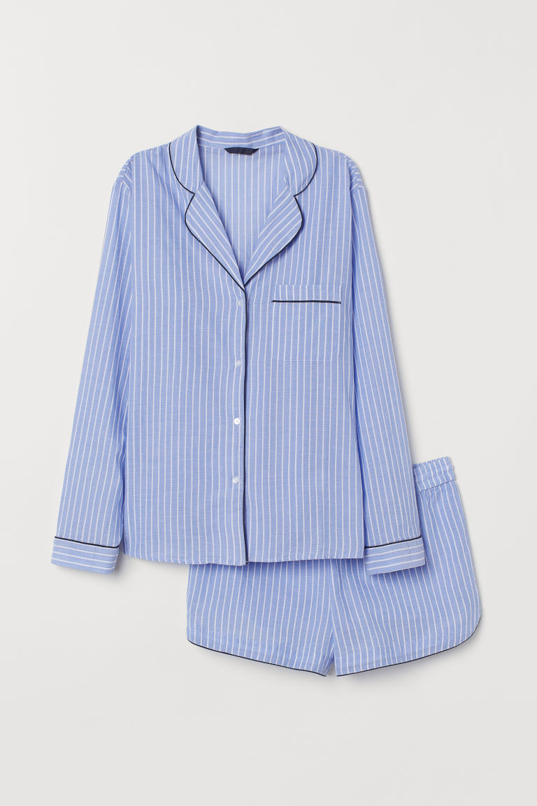 Pajama Shirt and Shorts - Blue/white striped - Ladies | H&M US 5