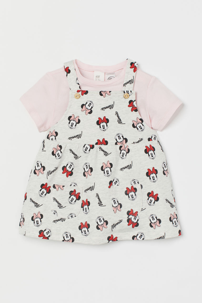 Bib Overall Dress and Top - Lt. gray melange/Minnie Mouse - Kids | H&M US
