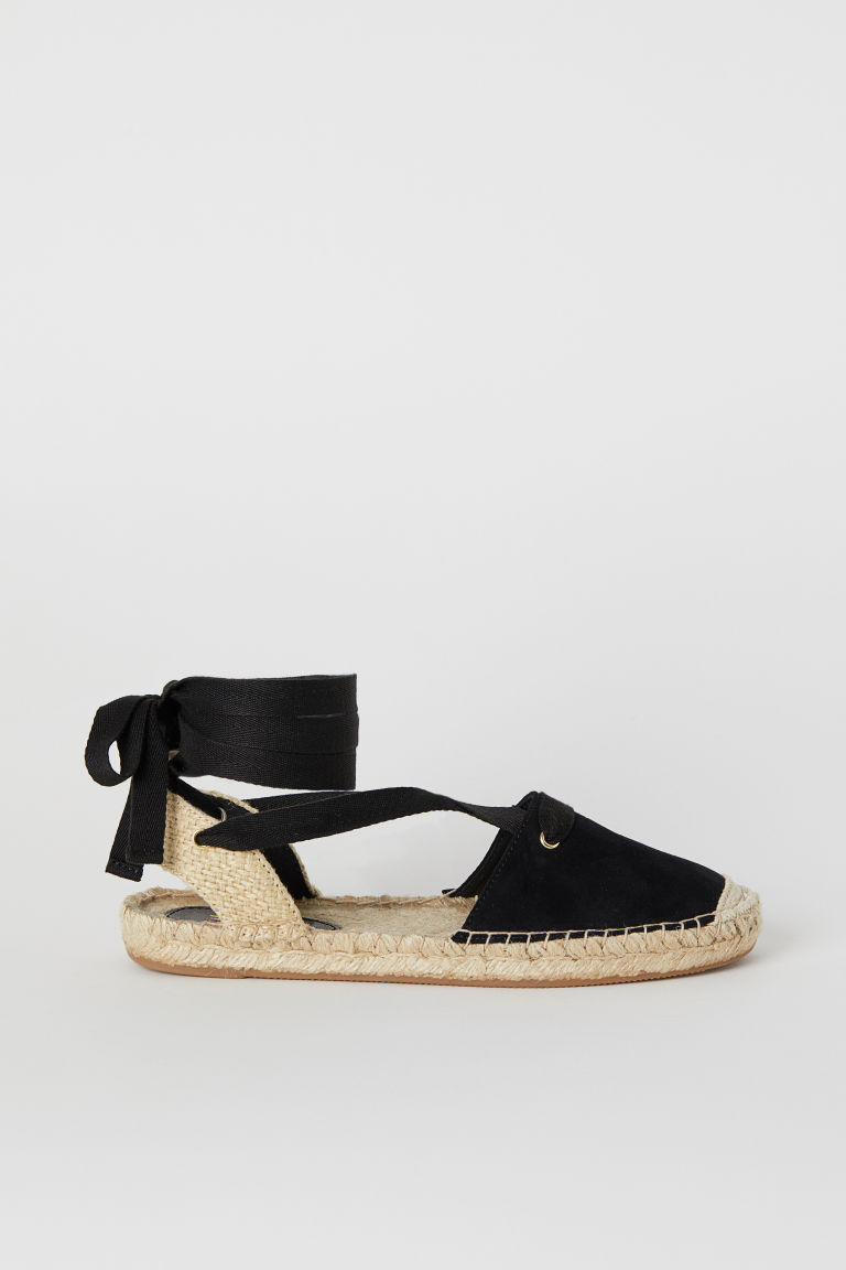 Espadrilles with Lacing - Black - | H&M US 1