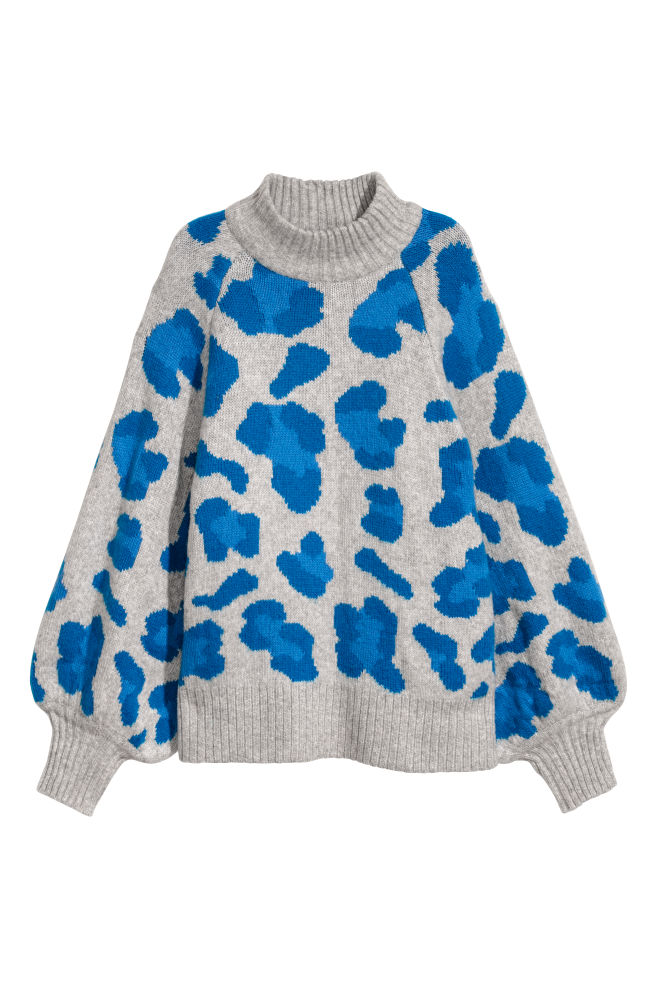 H&M Light Grey Leopard Print Jumper
