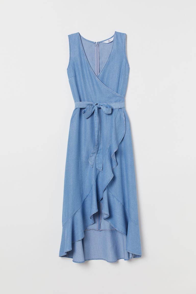 Lyocell Wrap Dress - Denim blue - | H&M US 4