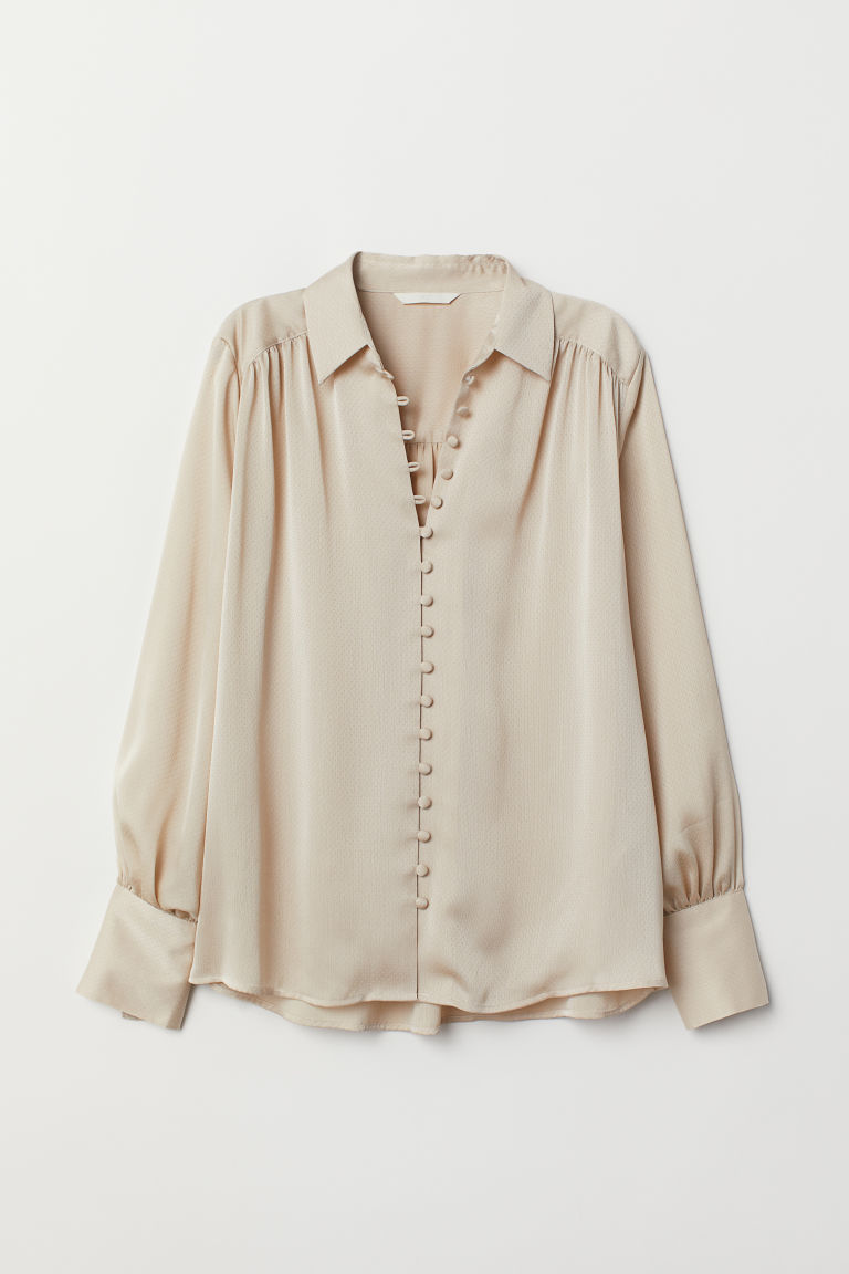 Long-sleeved Blouse - Beige - Ladies | H&M US 5
