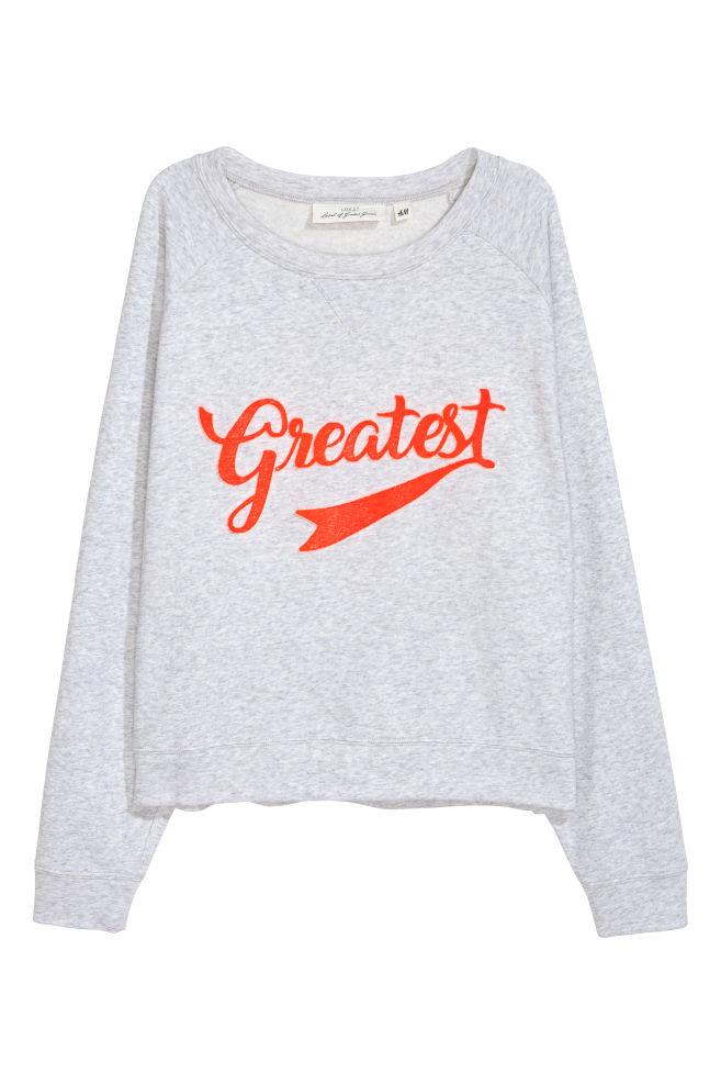 Sweatshirt med applikation - Ljusgrå - DAM | H&M SE 1