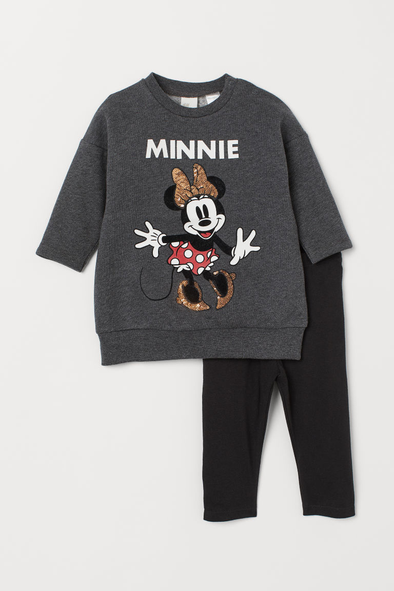 Dress and Leggings - Dk. gray melange/Minnie Mouse - Kids | H&M US