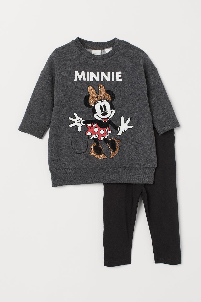 Dress and Leggings - Dk. gray melange/Minnie Mouse - Kids | H&M US