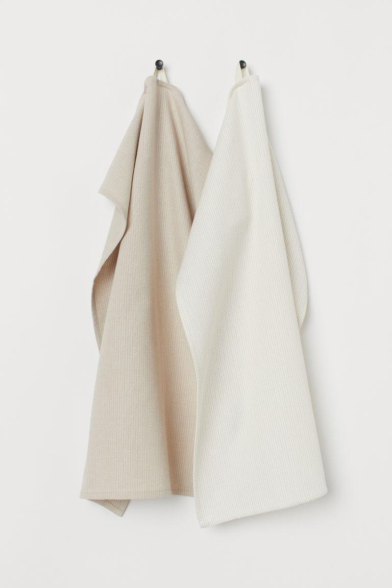 Torchons en coton, lot de 2 - Écru/beige clair - Home All | H&M FR