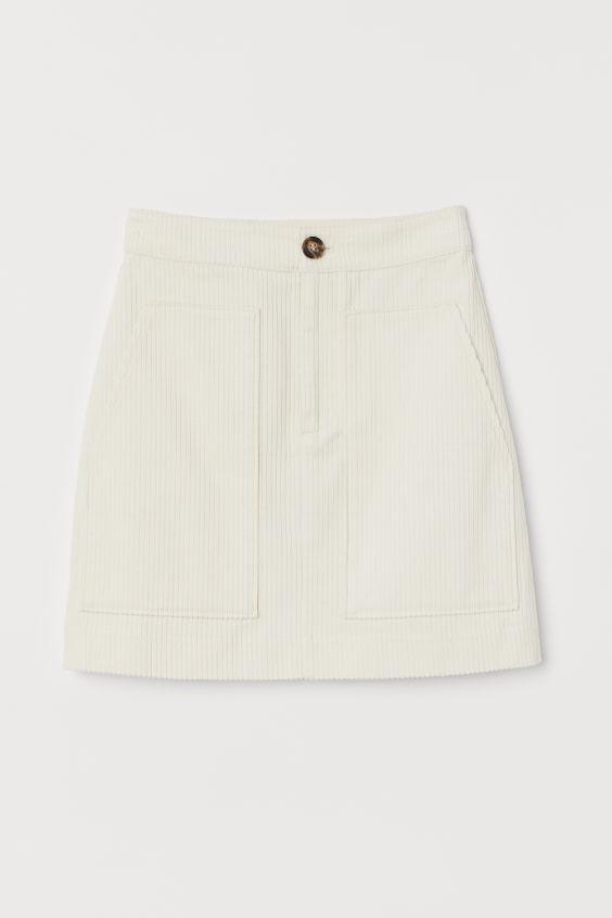Corduroy Mini Skirt Cream