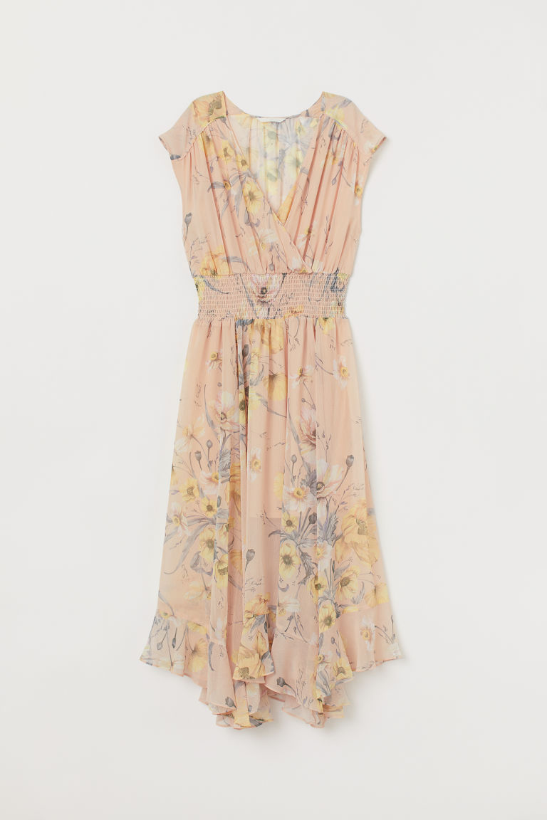 Dress with Smocking - Light beige/floral - | H&M US 5
