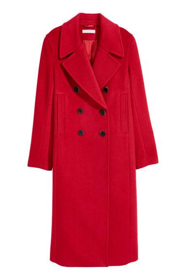Płaszcz z domieszką wełny - Czerwony - ONA | H&M PL