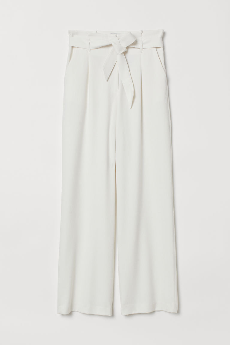 Paper-bag Pants - Cream - Ladies | H&M US 3