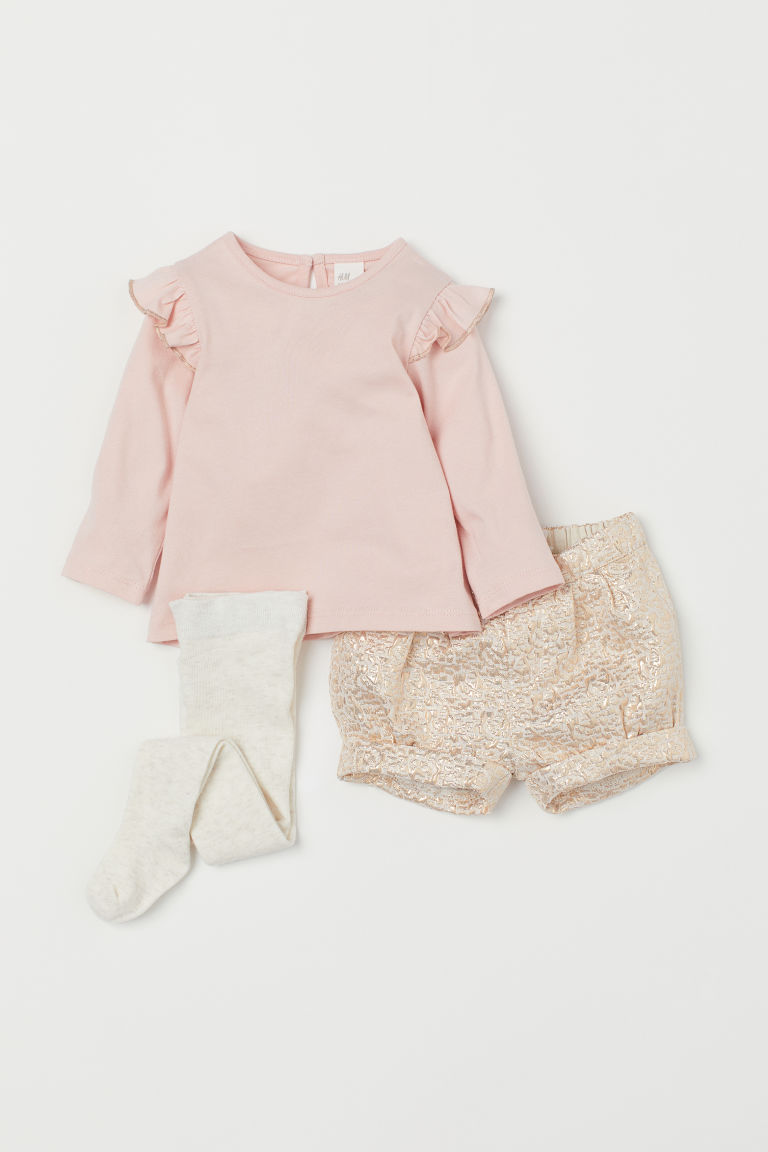 3-piece Set - Powder pink/rose gold-colored - Kids | H&M US