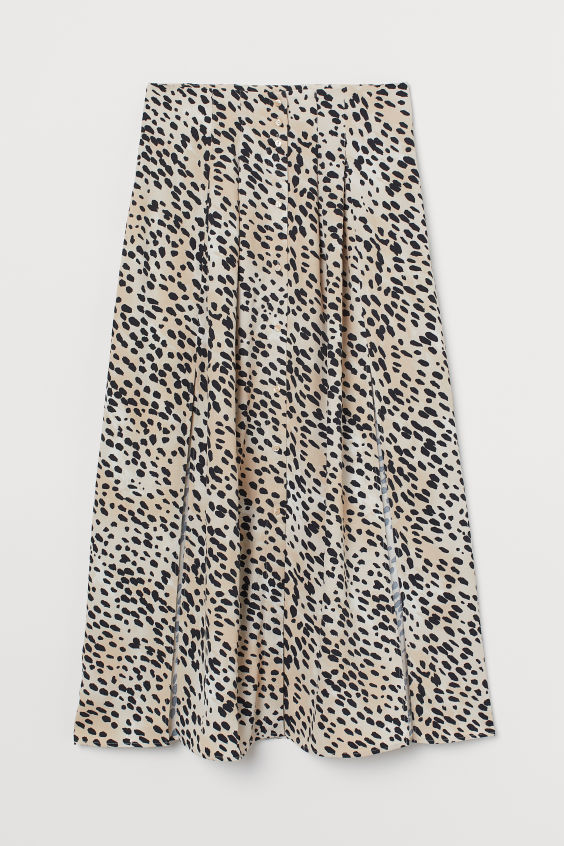 Skirt with Slits - Light beige/leopard print