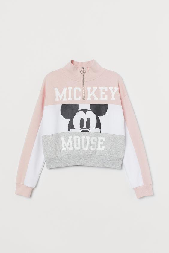 Stand-up-collar Sweatshirt - Powder pink/Mickey Mouse - Kids | H&M US 2