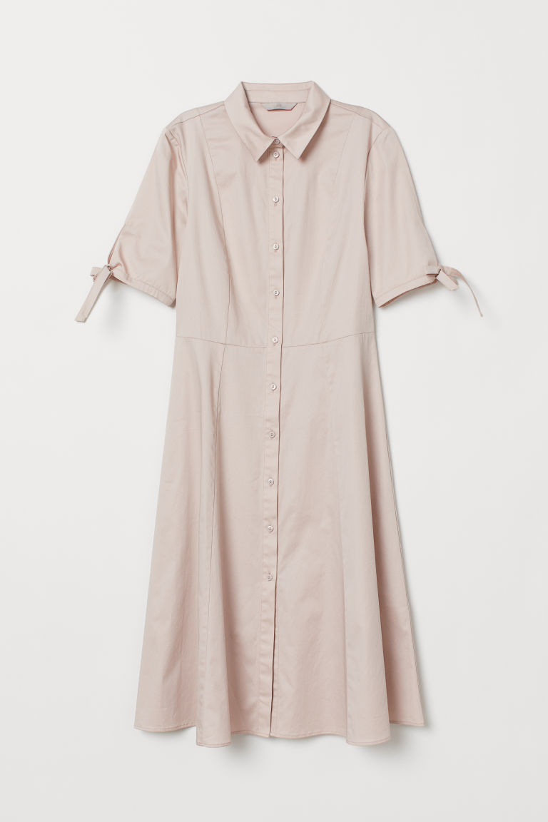 Cotton Satin Shirt Dress - Powder pink - Ladies | H&M US 5
