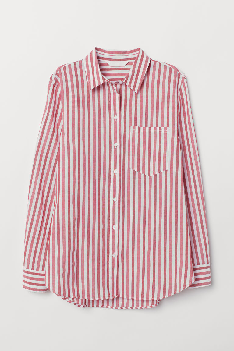 Cotton Shirt - Red/white striped - Ladies | H&M US 5